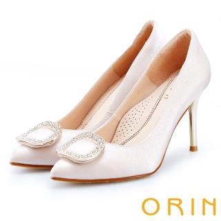 【ORIN】晚宴婚嫁首選 閃耀鑽飾百搭金屬尖頭高跟鞋(粉色)