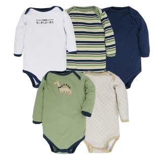 【Luvable Friends】嬰幼兒100%純棉長袖包屁衣5件組_微笑恐龍(LF38055)