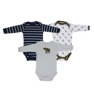 【Luvable Friends】嬰幼兒100%純棉長袖包屁衣3件組_棕色麋鹿(LF55128)