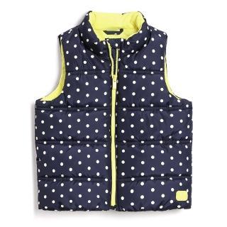 【GAP】女幼 柔軟保暖無袖加長棉服背心(473651-波爾卡圓點)