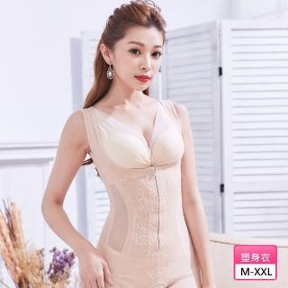 【曼格爾】560丹蠶絲蛋白激瘦平腹美體四角連身塑身衣(奢華膚)