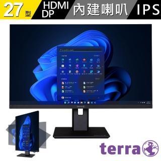 【terra 沃特曼】2763WPV 27型PLS廣視角螢幕(五年保固/內建喇叭/零閃屏、抗藍光)
