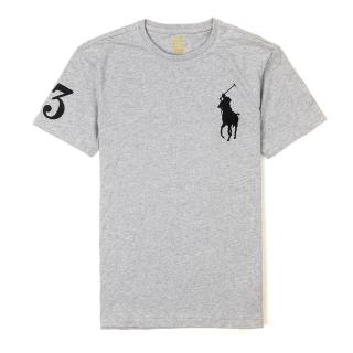 【RALPH LAUREN】Polo Ralph Lauren 經典刺繡大馬素面短袖T恤-灰色