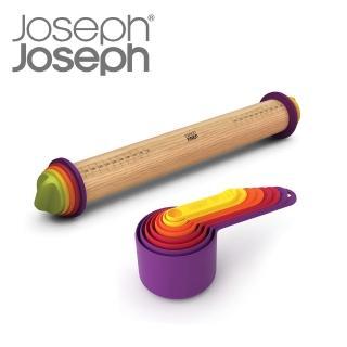 【Joseph Joseph】超值烘焙工具組(量杯量匙八件組+厚度可調桿麵棍)