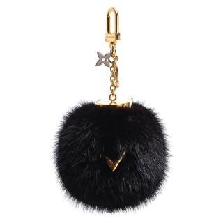 【Louis Vuitton 路易威登】M00008經典金色V LOGO貂毛圓球造型吊飾/鑰匙圈(黑_展示品)