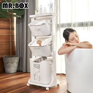 【Mr.Box】雙向取物可攜式洗衣分類收納籃-附輪(三款可選)