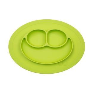 【美國ezpz】mini mat迷你餐盤+餐墊:蘋果綠(FDA認證矽膠、防掀倒寶寶餐具)