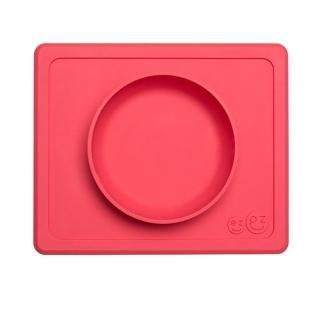 【美國ezpz】mini bowl迷你餐碗+餐墊:珊瑚紅(FDA認證矽膠、防掀倒寶寶餐具)