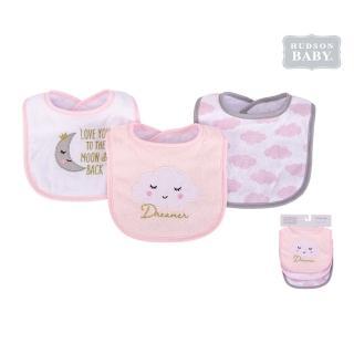 【Luvable Friends】嬰幼兒雙層吸水口水巾圍兜3入組_粉白雲朵(LF56213)