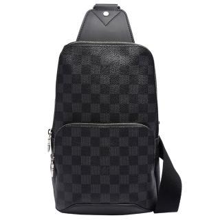 【Louis Vuitton 路易威登】N41719 Avenue Sling 系列Damier棋盤格牛皮鑲飾後背包(黑灰)