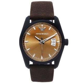 【EMPORIO ARMANI】Sportivo 知性時尚風日期顯示手錶-青古銅色面x咖啡色/42mm(AR6081)