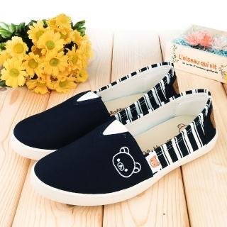 【童鞋城堡】拉拉熊 女款 百搭線條休閒鞋(KM82031-藍)
