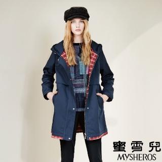 【mysheros 蜜雪兒】長版連帽風衣內格紋外套(藍)