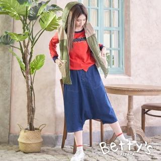 【betty's 貝蒂思】低檔造型牛仔飛鼠褲(牛仔藍)