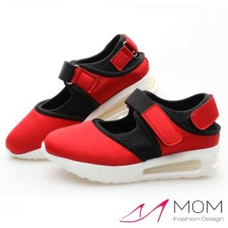 【MOM】彈力網布魔鬼粘氣墊休閒鞋(紅)
