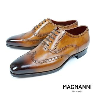 【MAGNANNI】經典刷色翼紋雕花牛津紳士鞋(棕色 21053-CUE)