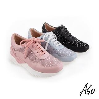 【A.S.O 阿瘦集團】時尚流行 活力雙核心拼接燙鑽休閒運動鞋(黑色)