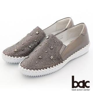 【bac】休閒享樂星星鉚釘鑽飾手縫線懶人休閒鞋(槍色)