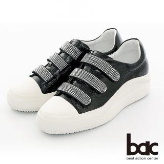 【bac】復古風潮排鑽魔鬼氈厚底台休閒鞋(黑色)