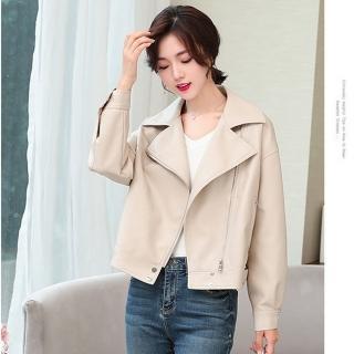 【BRIGA CFLD6661】BRIGA CFLD6661復古帥氣bf翻領廓形皮衣女短款夾克外套(CFLD6661)