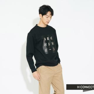 【H:CONNECT】韓國品牌 男裝 -特色字母圖印大學T(黑色)