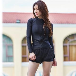 【狐狸姬】M-XL闇風三件式外套款運動套裝-三件套(黑)