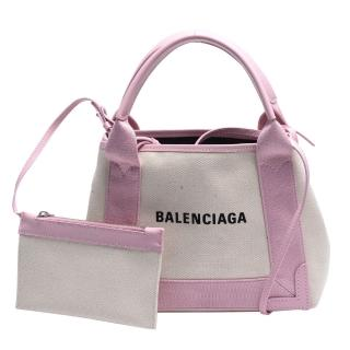 【Balenciaga 巴黎世家】經典NAVY系列牛皮飾邊手提/斜背帆布包(XS-玫瑰粉390346-AQ38N-9268)