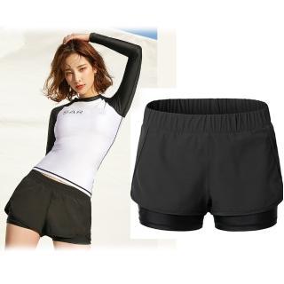 【狐狸姬】M-XL輕質速乾短褲運動褲雙層褲-單褲(黑)