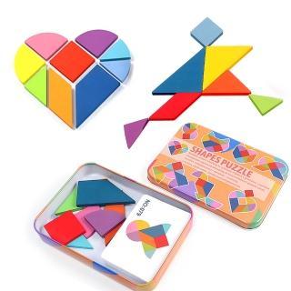 【Jigsaw】兒童智力創意七巧板拼圖鐵盒/玩具(益智玩具/兒童早教/認知)