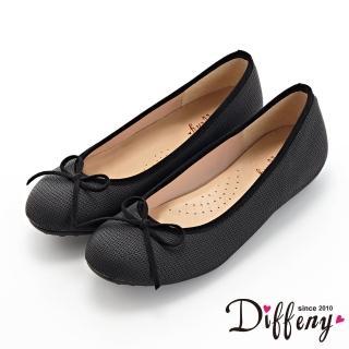 【Diffeny】平底鞋_MIT甜美蝴蝶結拼接壓紋豆豆鞋(黑)