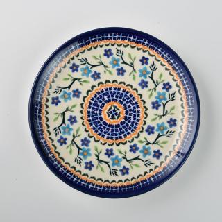 【波蘭陶 Zaklady】藍花綠葉系列 淺底圓形餐盤 19cm 波蘭手工製