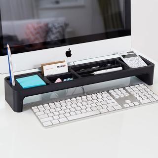 【LITEM 里特】桌上文具鍵盤收納架 黑灰(鍵盤架 文具收納 置物架 電腦架 桌上收納架)