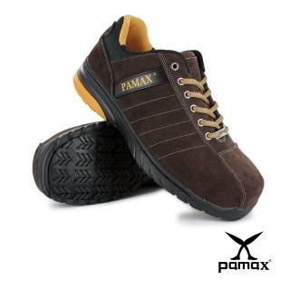 【PAMAX 帕瑪斯】超機能頂級PU彈力氣墊高抓地力安全鞋/寬楦/休閒(PS84605FEH 咖/男女)