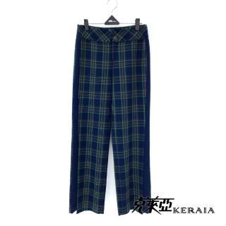 【KERAIA 克萊亞】霧面雙釦寬版格紋開衩褲