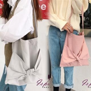 【iSPurple】甜心蝴蝶結*純色輕巧帆布手提肩背包(2色可選)
