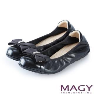【MAGY】甜美舒適 蝴蝶結鬆緊帶牛皮娃娃鞋(黑色)