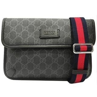 【GUCCI 古馳】598113  Supreme GG belt bag 斜背/腰包(黑灰色)