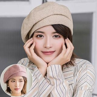 【Seoul Show 首爾秀】毛呢千鳥格畫家帽經典英倫貝雷帽(防寒保暖)