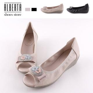 【Alberta】包鞋-跟高3.5CM 水鑽花朵造型 簡約純色 魚口楔型跟鞋 套腳包鞋