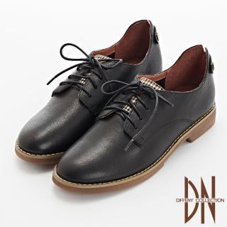 【DN】休閒鞋_文青感牛皮拼接綁帶格紋休閒鞋(黑)