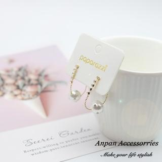 【Anpan】韓東大門前後扣珍珠鑽石垂墜925銀耳針式耳環