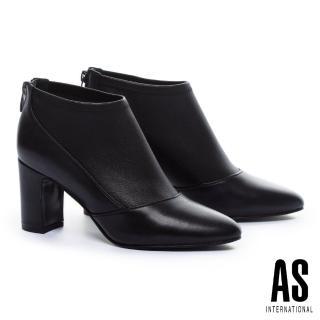 【AS 集團】極簡時尚美學異材質拼接全真皮粗高跟踝靴(黑)