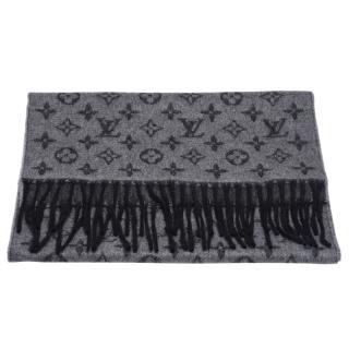 【Louis Vuitton 路易威登】M75900 經典Monogram LOGO GRADIENT系列羊毛圍巾(中灰色)