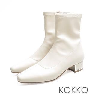 【KOKKO】繁華卡薩布蘭卡金屬跟方頭襪靴(米白)