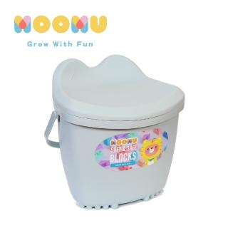 【MOOMU】馬卡龍香草軟積木 120pcs 收納桶裝組 -(藍色)