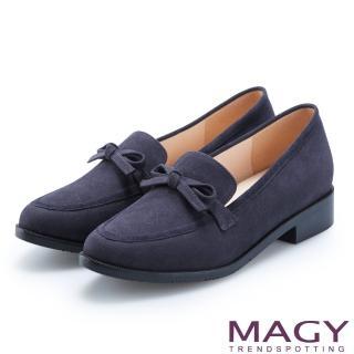 【MAGY】復古潮流 氣質蝴蝶結絨布低跟鞋(藍色)