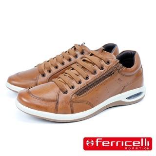 【Ferricelli】New Air Equus牛皮綁帶拉鍊休閒運動鞋(棕色 F47860-BR)