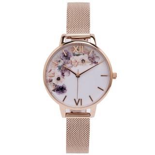 【Olivia Burton】華麗花香款米蘭帶手錶-白面/34mm(OB16PP57)