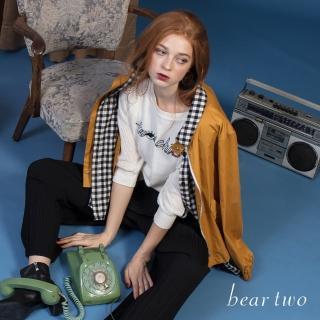 【bear two】假兩件格紋襯衫拼接外套(黃)