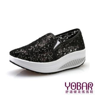 【YOBAR】歐美流行蕾絲亮片款透氣帆布懶人休閒搖搖鞋 健走鞋(2色任選)